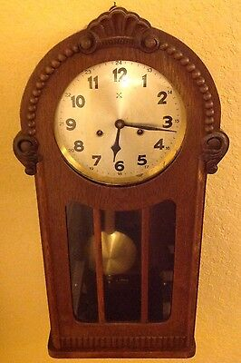 Antique Germany Wall Clock Crossed Arrows Hamburg-American Clock Co.