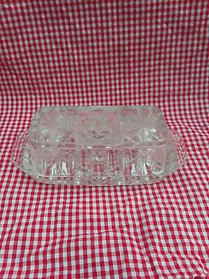 Vintage Anchor Hocking Star Of David Press Cut Clear Butter Dish