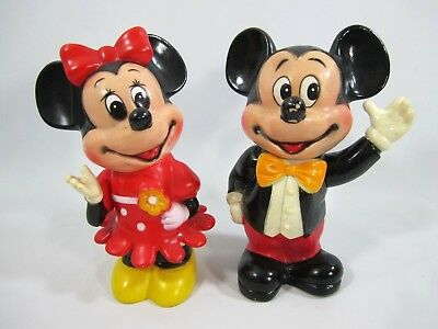"""Disney Mickey and Minnie Mouse Plastic Banks 6"""" Vintage 1970's Early 1980's"""