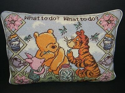 """Needlepoint Pillow Winnie The Pooh Disney Classic Pooh """"What to do?"""""""