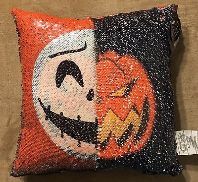 Nightmare before Christmas Jack and Pumpkin King sequin flip pillow cushion NWT