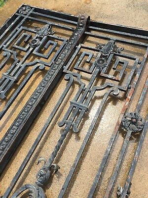 French 19th Century Wrought Iron Double Gate Pair Antique Rare Garden Home