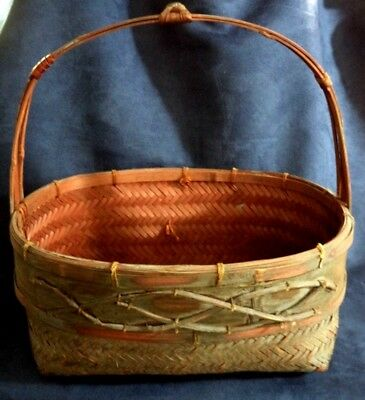 """Fine Old Antique Japanese Bent Bamboo Woven Basket Twig Branch BIG! 12"""""""
