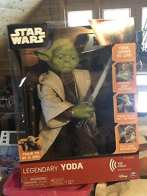 "Disney Star Wars Legendary Jedi Master Yoda 18"" Action Figure Doll w/ Lightsaber"