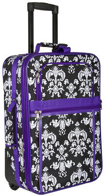 Damask Carry On Luggage Suitcase Travel Small Rolling Wheeled Expandable Purple