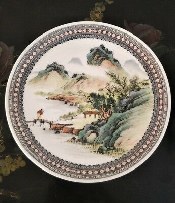 ANTIQUE Chinese REPUBLIC Period POLYCHROME Enamel PLATE.Signed