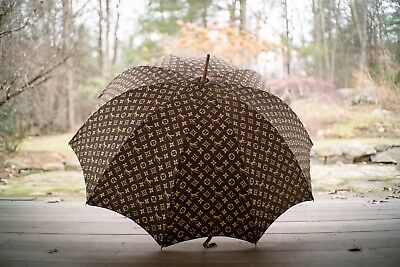 PAIR Of 70s LOUIS VUITTON HIS & HER Wood Handle Cotton Fabric Umbrella Parasols