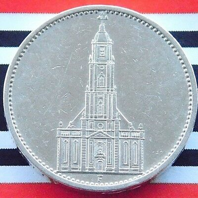GERMAN Coin 1934 F 5 MARK Reichsmark POTSDAM Garrison CHURCH Silver 3RD WW2 NICE