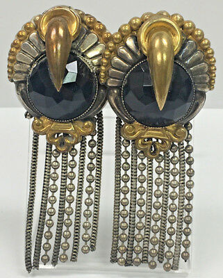 Vintage/Antique Handcrafted Costume Clip On Earrings - Deco Egyptian Revival