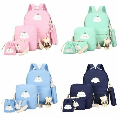 6pcs/Set Women Backpack Canvas Travel Teenage Bookbag Girls Shoulder School Bag