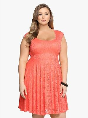 4f2f409a9c7b Torrid Womens Coral Peach Floral Lace Open Back Dress Sleeveless Plus Size  4 26