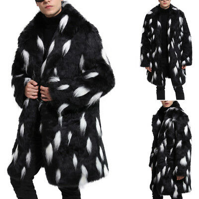 2018 Men's Winter Fashion Soft Faux Fur Parka Outwear Overcoat Jacket Long Coat