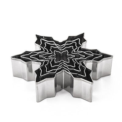 5pc Snowflake Stainless Steel Cookie Cutter Biscuit Pastry Mold Cake Decor Tools