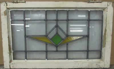 "OLD ENGLISH LEADED STAINED GLASS WINDOW Pretty Geometric Design 21.75"" x 13.25"""