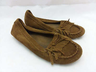 Minnetonka Brown Leather Suede Moccasin Loafers Slip On Women's Size 8