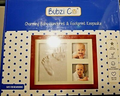 Bubzi Co Baby Handprint Kit & Footprint Photo Frame for Newborn Girls