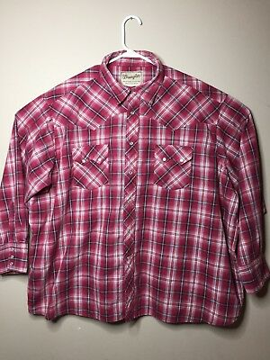 a07ae260 Wrangler Wrancher Mens Cowboy Flannel Pearl Snap Shirt Red Plaid Sz 3XL