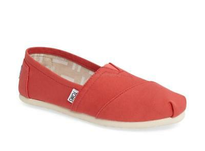 New Women Classic Toms Alparagata Washed Twill Slip On Sneakers Shoes Coral sz 8
