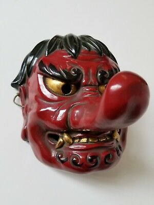 Exceptional, old, hand-carved and lacquered Japanese face mask