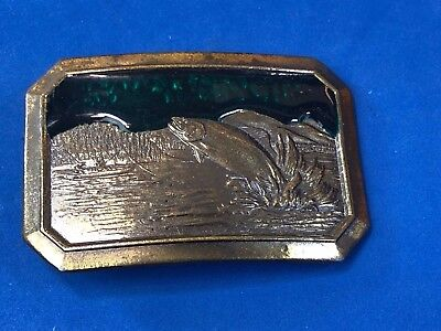 Vintage 1977 bass fish jumping belt buckle The Great American buckle co