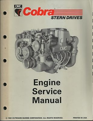 Omc Outboard Marine Corp. Boat Cobra 1992 Engine Service Manual Part No. 508290