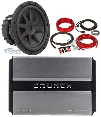 "Kicker 44CVX104 CVX 10"" Comp VX 600w RMS Car Subwoofer+Mono Amplifier+Amp Kit"
