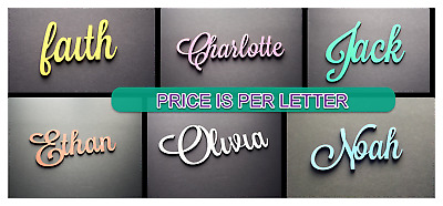 10CM Script Font, Painted Custom Wooden Name Sign Plaque. Price per Letter