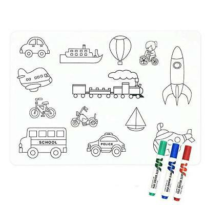 LONGFITE Coloring Kids Placemats Doodle Fun Pad FDA Approved Silicone Table Mat