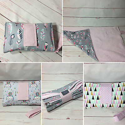 Large change mat & nappy wallet diaper clutch portable set lilac grey feathers