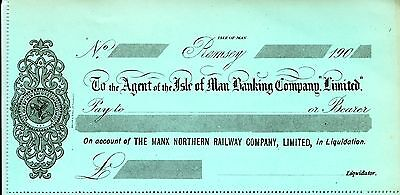 IMR MNR Isle of Man Railway cheques dividend & debenture warrants & bank cachets