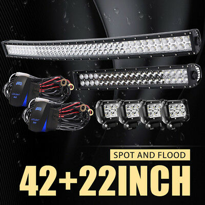 "42Inch LED Light Bar Combo + 20in +4"" CREE PODS OFFROAD SUV 4X4 ATV FORD JEEP 22"