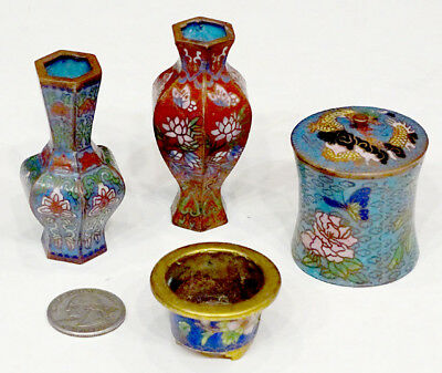 5-pc ANTIQUE Vintage JAPANESE CHINESE Miniature CLOISONNE Dollhouse Set / VASE