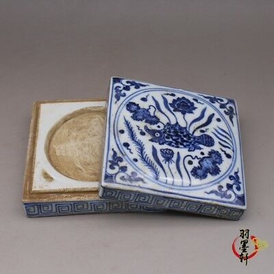 China old antique Porcelain Ming Xuande Blue & white waterweeds ink box