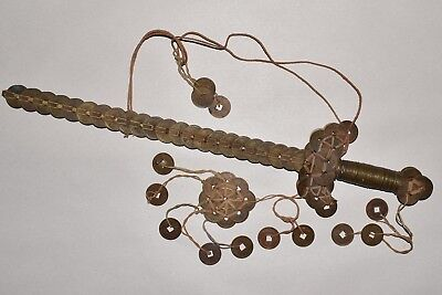 """Fine ANTIQUE CHINESE Good Luck, TALISMAN CASH COIN SWORD, 18"""", Approx. 145 Coins"""