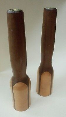 Retro Danish Mid Century Modern Teak Wooden Candlesticks Candle Holders Iconic