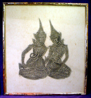21x23 Antique Framed Thai Siamese Rice Paper Temple Stone Rubbing Drums Goddess