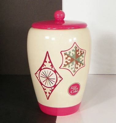 """Coca Cola Ceramic Cookie Bisquit Jar """"Things Go Better with Coke"""" Christmas 4203"""