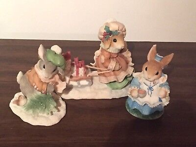3 MY BLUSHING BUNNIES Clarissa Cottontail HARE Christmas Winter GIFT of BLESSING