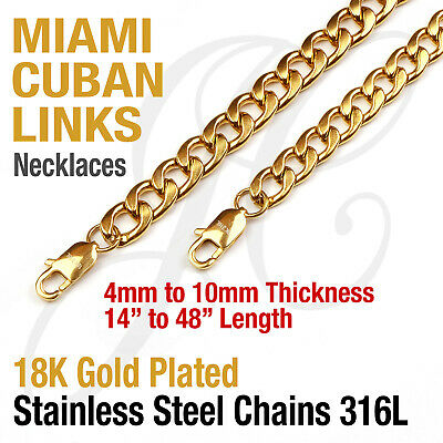 18K Gold Plated Stainless Steel 316L Miami Cuban Curb Link Chain Necklace 16-48""