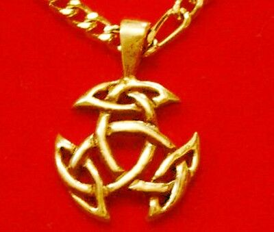 LOOK Celtic Good Luck Pendant Charm Gold plated Real sterling Silver Jewelry Wic