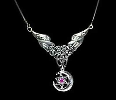 LOOK Celtic Infinity Knot Sterling silver Moon necklace ston
