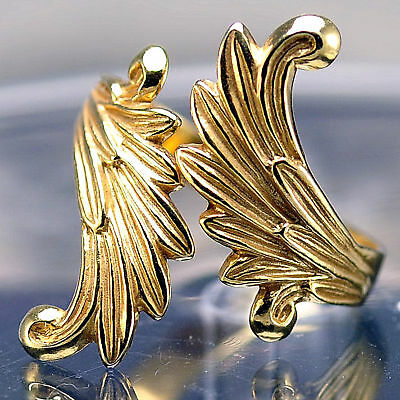 LOOK Celtic Moon Goddess Angel wings Fairy Ring Gold plated