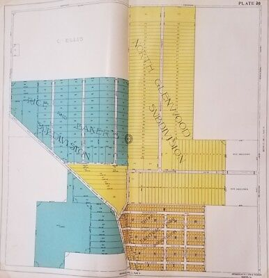 1917 Rockford IL Atlas N Glennwood Rice & Bakers Subdivision Plate Survey Map