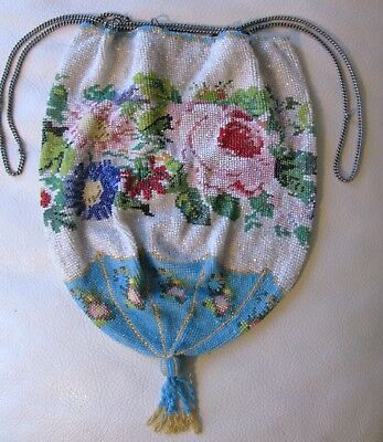 Antique Victorian Tan Crochet Floral Ring Pink Blue Micro Bead Drawstring Purse