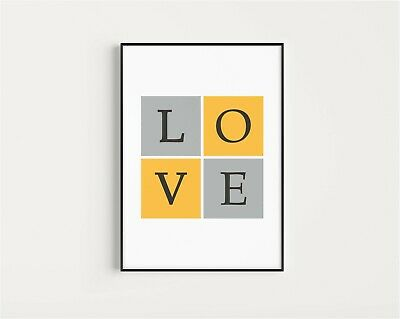 Quote Love with Heart Print Poster Bedroom Living Room Wall Decor Art A4 A3 A5
