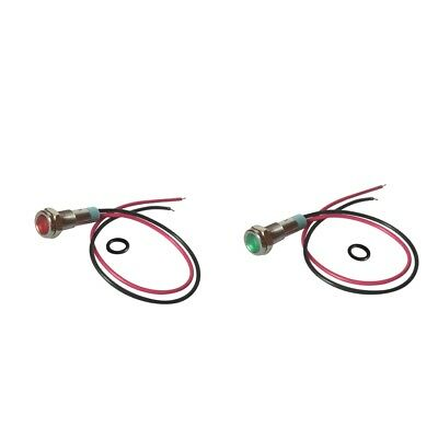 Perfeclan 2x 6mm 12V LED Metal Indicator Light Signal Lamp Wire Red & Green