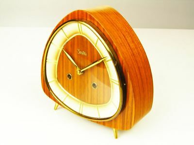 Beautiful Later Art Deco Chiming Mantel Clock Zentra Hemrle With Balance Wheel