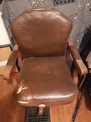 Vintage Leather and Wood Banker's Chair
