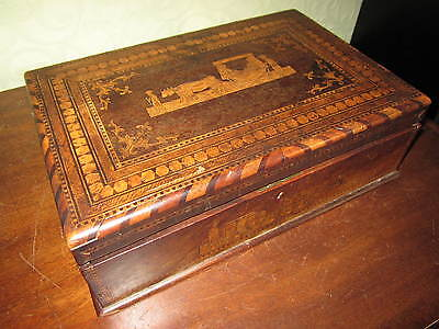 An unusual Victorian inlaid and fitted jewellery or trinket box