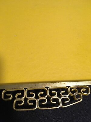 Mid Century Moire Glazed Kyes Cocktail Tray Brass Handles Yellow Gold Vintage